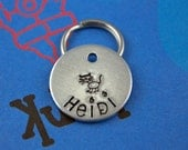 SMALL Cat Tag - Customized Pet Tag - Hand-Stamped Personalized Cat ID Tag