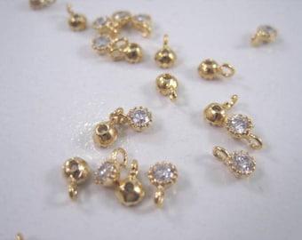 CZ Tiny round charm, cz pendant, gold cz, bulk order option, G-016