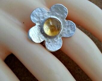 Citrine Silver Ring Flower Silver Ring November Birthstone
