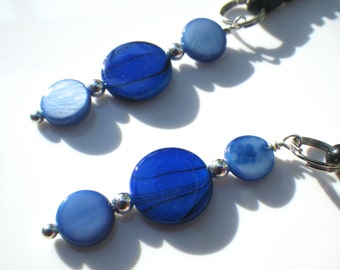 Sterling Silver Cell Phone Charm with Blue Shells