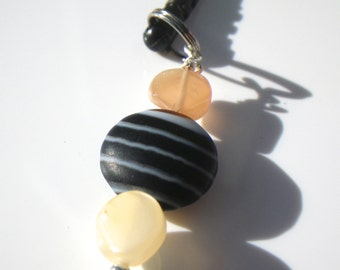 Black Lace Agate & Moonstone Cell Phone Charm