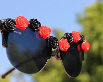 Red and Black retro flower sunglasses