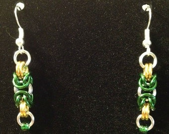 Fan Maille - Green, Gold and Silver Byzantine Earrings