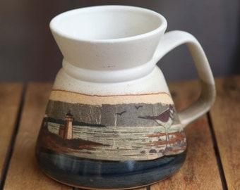 Large Vintage No Spill Travel Mug Landscape Scene Narrow Top Wide Base