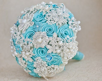 Brooch bouquet. Turquoise and silver wedding brooch bouquet, Jeweled Bouquet. Quinceanera keepsake bouquet