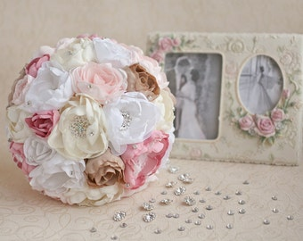 Brooch bouquet. Blush Pink, Ivory and Champagne wedding brooch bouquet, Jeweled Bouquet. Made upon request