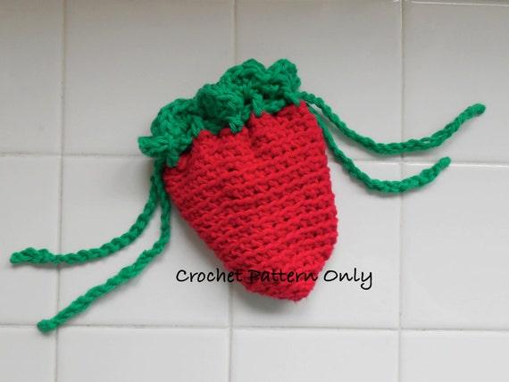 Strawberry Drawstring Bag Crochet PATTERN PDF Pattern