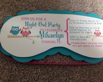 Owl theme sleepover invitations