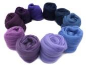 Merino wool tops - purple - blue - blending - spinning - felting - fibre - 21 micron - 100g - 3.5oz - TWILIGHT