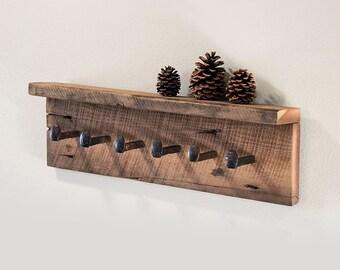 "Rustic coat rack with shelf, reclaimed barnwood wall hooks with 6 railroad spike hooks, 30"" x 8"" barn wood coat hanger"