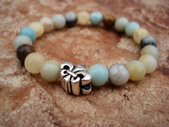 Amazonite Bracelet, Fleur De Lis Bracelet, Fleur De Lis Jewelry, Charm Bracelet, Stretch Bracelet, Beaded Bracelet, Womens Bracelet