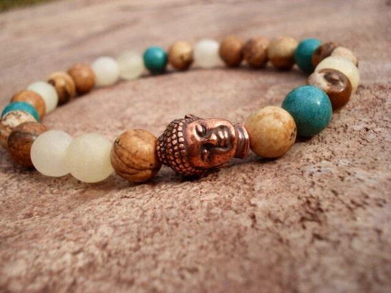Buddha Bracelet, White Onyx Jasper Turquoise Howlite Bracelet, Spiritual Jewelry, Mens Women's Bracelet, Yoga Bracelet. Gemstone Bracelet