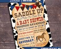 Printable Western Baby Shower Invitation, Western Baby Shower, Cowboy Baby Shower, Boy Baby Shower Invitation, Horse Baby Shower Invitation