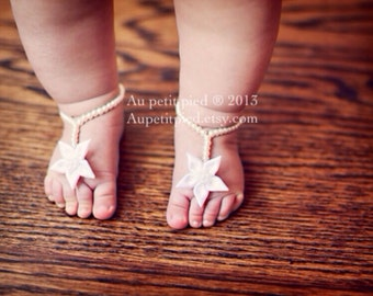 Baby barefoot sandals- newborn shoes- toddler barefoot sandals- baptism gift - baby girl gift- newborn photo prop-  photo prop  ,flower girl
