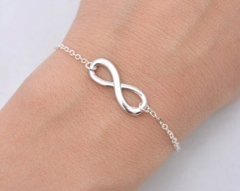 Set of 6 Bridesmaid Bracelets, 6 Bridesmaid Infinity Bracelets, Silver Infinity Charm, Sterling Silver Chain 0196