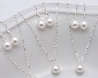 Set of 8 Bridesmaid Necklace and Earring Sets, 8 Pearl Sets, Bridesmaid Pearl Jewelry Sets, Single Pearl Necklace Sterling Silver Chain 0133