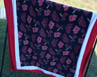 St Louis Cardinals patchwork minky throw