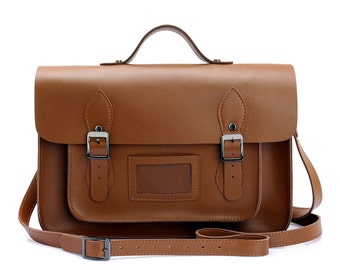 Large Wooster British Handmade Leather Satchel with Top Handle - Brown