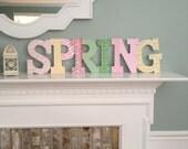 SPRING letters for mantel home decor decorations for springtime
