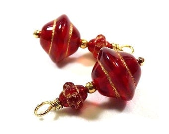 Red and Gold Dangle Charms - Hand Wired Charm Drops - (2, 4, 6, 8, 10, or 12))