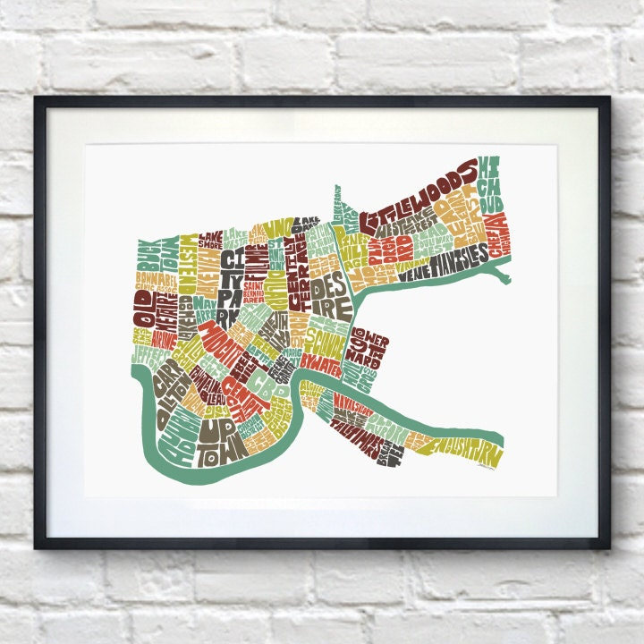 New Orleans Poster Art New Orleans Typography Map Art