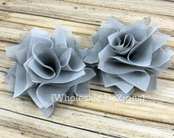 """Grey Satin & Tulle Flowers 4"""" - Layered Rosette Large Flowers 4 inches Gray"""
