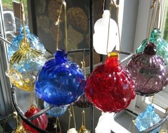 Mold Blown Glass ornament Dot & Line