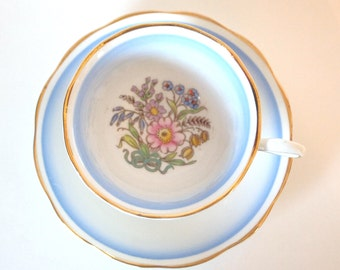 Vintage Royal Albert Teacup English Bone China Tea cup Set Blue Ombre and Gold Floral Tea cup and Saucer Made in England Mid Century 1950