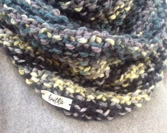 Hand Knit Neckwarmer, Cowl, Snood, Chunky, Infinity Scarf, Grey, Green, Oversized, Neutral, Modern