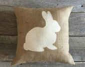 Burlap Rabbit PIllow, Easter Pillow, Spring Pillow,,Cotton Muslin pillow,Bunny Pillow,Burlap Pillow,Front Porch,Front Porch Pillow
