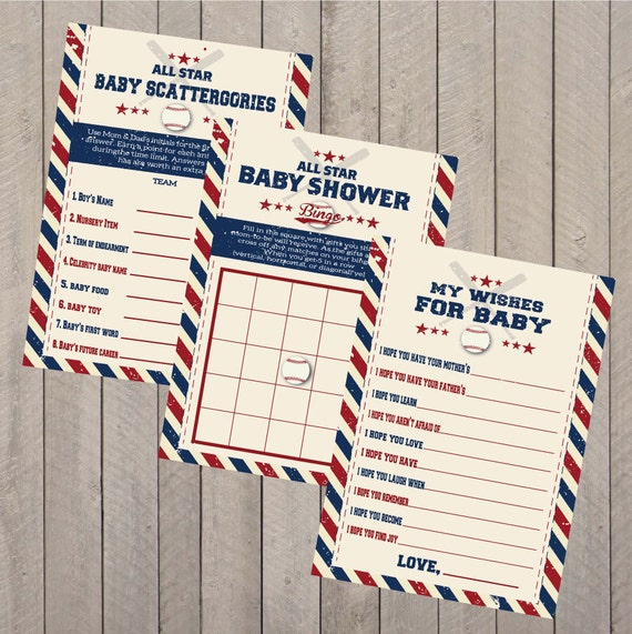 Vintage Baseball Baby Complete Shower Games Set PDF Instant