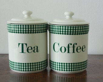 Set of 2 ceramic  pot - Tea&Coffee - Tea set  / Tea pot Tea jar coffee pot - Vintage kitchen - Kitchenware Melba - Green checkers white