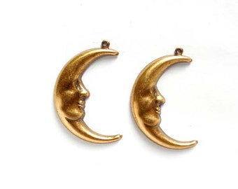 2 Antique Brass Man In The Moon Charms - 21-52-4