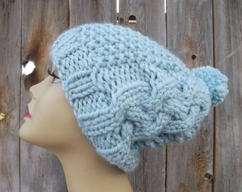 Slouchy Bohemian Hat-Slouchy- Cable Hat with Pompom-Womens-Hand Knit-Aqua Blue with Sparkle-Wool and Acrylic Blend