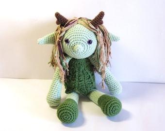 Handmade fairy crochet doll. Fantasy amigurumi. Fairy tale stuffed toy, softy, plush.