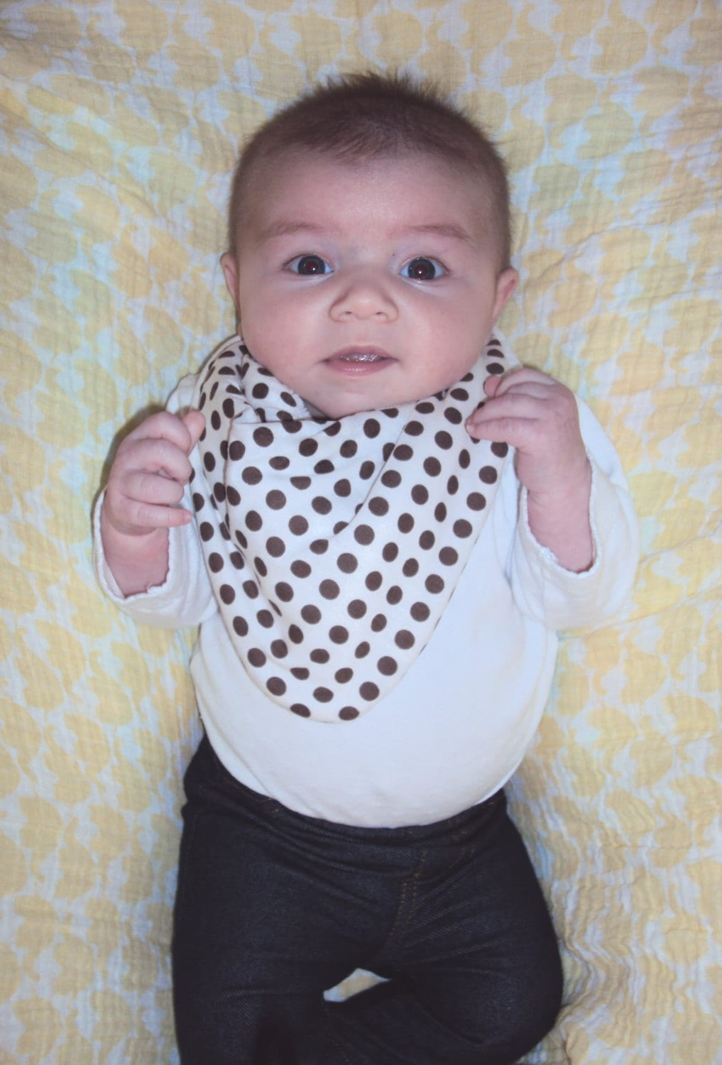 baby bandana bib scarf in white with brown dots jersey knit