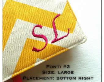 Add Embroidery, Add initials, add monogram, add name, 5 fonts available