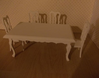 Table and four chairs  hand painted dollhouse miniature, twelfth scale, dolls house dining room
