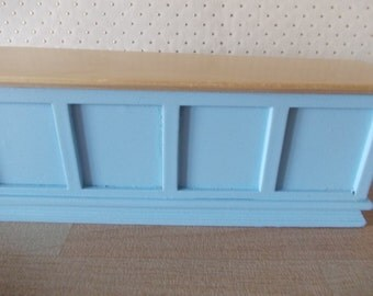Dolls house kitchen work island counter in Blue and wood 1 12th scale kitchen