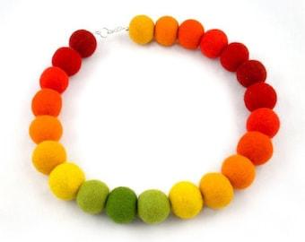Felted Necklace Nunofelt Rainbow Collar felt rainbow necklace silk fairy floral Fiber Art boho