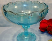 Garland by Indiana Glass Blue Compote 7.5 inches high