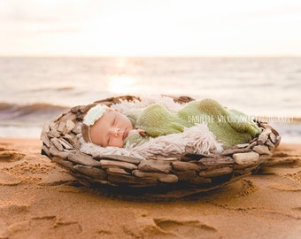 Newborn Photo Prop Set: Sage Knit Wrap with Free Headband for Newborn Photo Shoot, Maternity Prop, Newborn Photography Wrap, Infant Photo