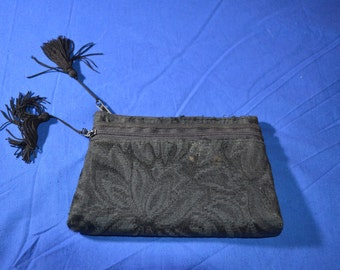 ON SALE  Small Little Purse or Cosmetic Bag in Black Brocade