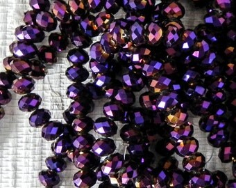 Purple Chinese Crystal Rondelle - Fire Polished Chinese Crystal Glass Beads - 8x5mm - 36 beads - 1003