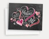 Valentine Card - Happy Valentine's Day - Hand Lettered Valentine Card - Chalkboard Card  - I Heart You