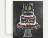 Birthday Cake Card - Chalkboard Art - Celebrate Card - Illustration by Valerie McKeehan