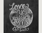 Love You To The Moon and Back Print - Chalkboard Art - Nursery Print - Chalk Art - Hand Lettering - Chalkboard Decor