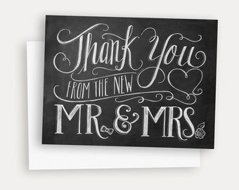 Wedding Thank You Card - Hand Lettered Card - Rustic Wedding Thank You - Thank You From The New Mr & Mrs - Chalkboard Art - Chalkboard Card