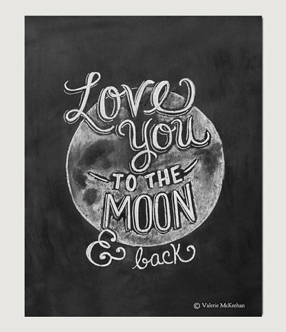 Items Similar To Love You To The Moon And Back Print