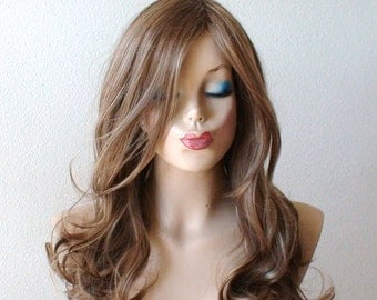 Brown / Dirty blonde/ Ash blonde mixed color wig. Long curly dirty blonde wig, Durable Heat resistant synthetic wig